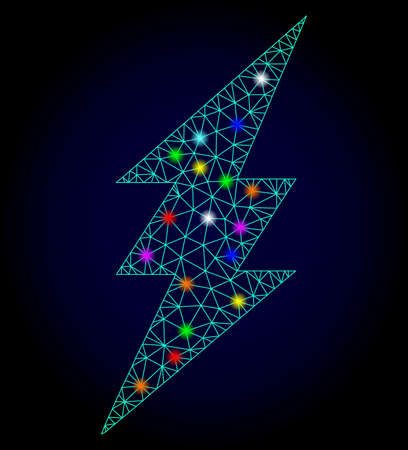 Glossy polygonal mesh electric spark icon with glare effect on a dark background. Carcass electric spark iconic vector with glamour colorful dots for Christmas templates.