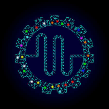 Glossy polygonal mesh pipe service cog icon with glow effect on a dark background. Carcass pipe service cog iconic vector with illuminated multi colored spheres for Christmas posters.