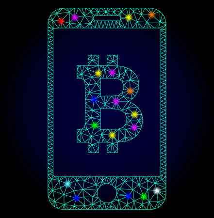 Glossy polygonal mesh mobile bitcoin bank icon with glow effect on a dark background. Carcass mobile bitcoin bank iconic vector with glamour multi colored dots for New Year templates. Иллюстрация
