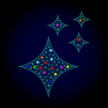 Glossy polygonal mesh shine stars icon with glow effect on a dark background. Carcass shine stars iconic vector with illuminated multicolored points for New Year illustrations. Illustration