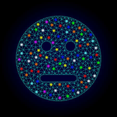 Glossy polygonal mesh neutral smiley icon with glare effect on a dark background. Carcass neutral smiley iconic vector with flash multi colored dots for Christmas templates.