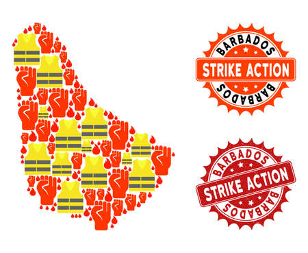 Strike action collage of revolting map of Barbados, grunge and clean seal stamps. Map of Barbados collage created for Gilet Jaunes protest illustrations.