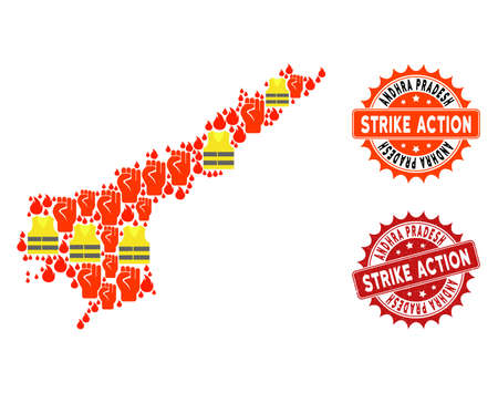 Strike action collage of revolting map of Andhra Pradesh State, grunge and clean seal stamps. Map of Andhra Pradesh State collage composed for Gilet Jaunes protest illustrations. Illustration