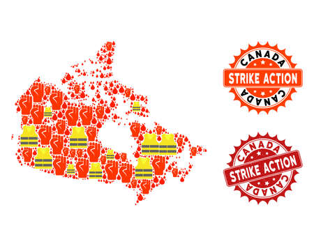 Strike action collage of revolting map of Canada, grunge and clean seals. Map of Canada collage designed for Gilet Jaunes protest illustrations.