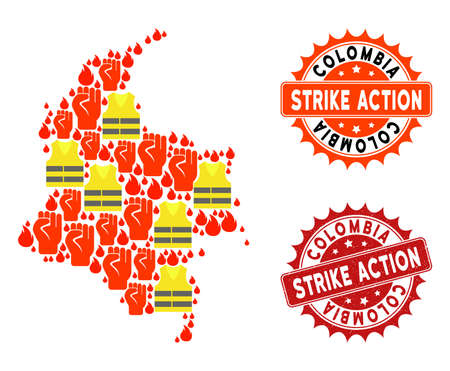 Strike action composition of revolting map of Colombia, grunge and clean seals. Map of Colombia collage formed for Gilet Jaunes protest illustrations.