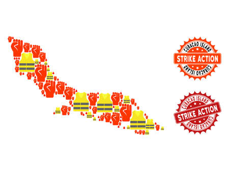 Strike action composition of revolting map of Curacao Island, grunge and clean stamps. Map of Curacao Island collage composed for Gilet Jaunes protest illustrations.