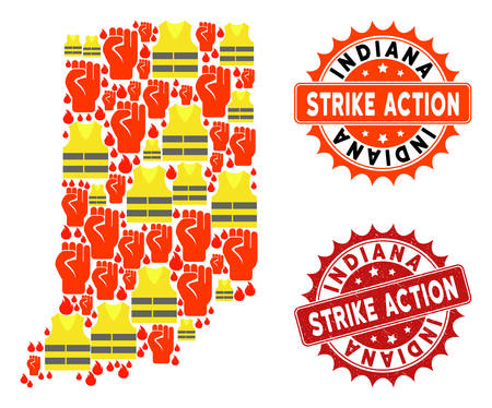 Strike action collage of revolting map of Indiana State, grunge and clean seal stamps. Map of Indiana State collage created for Gilet Jaunes protest illustrations. Illustration