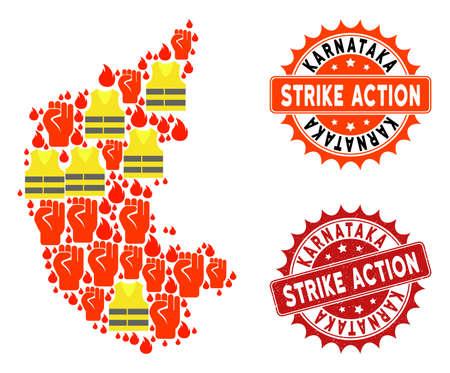 Strike action collage of revolting map of Karnataka State, grunge and clean stamps. Map of Karnataka State collage formed for Gilet Jaunes protest illustrations. Illustration
