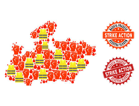 Strike action combination of revolting map of Madhya Pradesh State, grunge and clean seals. Map of Madhya Pradesh State collage designed for Gilet Jaunes protest illustrations. Illustration