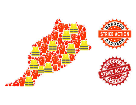 Strike action collage of revolting map of Morocco, grunge and clean seals. Map of Morocco collage composed for Gilet Jaunes protest illustrations.