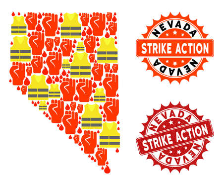 Strike action composition of revolting map of Nevada State, grunge and clean stamps. Map of Nevada State collage composed for Gilet Jaunes protest illustrations.