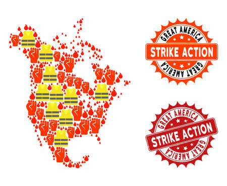 Strike action collage of revolting map of North America, grunge and clean seals. Map of North America collage designed for Gilet Jaunes protest illustrations.