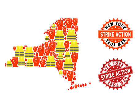 Strike action collage of revolting map of New York State, grunge and clean seal stamps. Map of New York State collage composed for Gilet Jaunes protest illustrations. Illustration