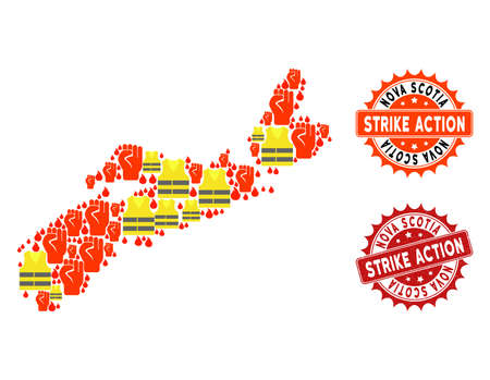 Strike action collage of revolting map of Nova Scotia Province, grunge and clean stamps. Map of Nova Scotia Province collage formed for Gilet Jaunes protest illustrations.
