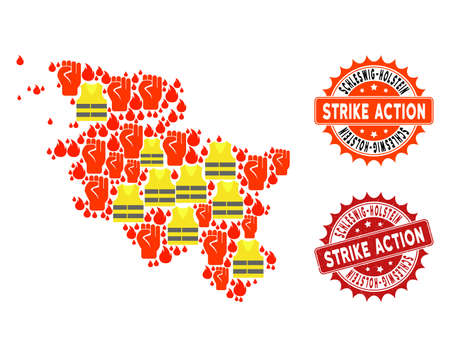 Strike action collage of revolting map of Schleswig-Holstein State, grunge and clean seals. Map of Schleswig-Holstein State collage composed for Gilet Jaunes protest illustrations.
