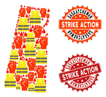 Strike action collage of revolting map of Saskatchewan Province, grunge and clean seals. Map of Saskatchewan Province collage designed for Gilet Jaunes protest illustrations.