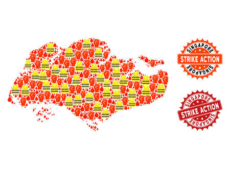 Strike action collage of revolting map of Singapore, grunge and clean seal stamps. Map of Singapore collage created for Gilet Jaunes protest illustrations.