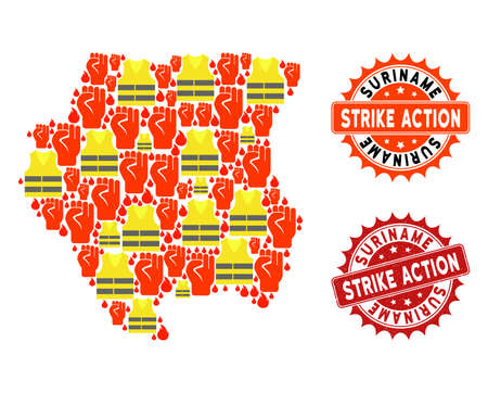 Strike action collage of revolting map of Suriname, grunge and clean stamps. Map of Suriname collage created for Gilet Jaunes protest illustrations.