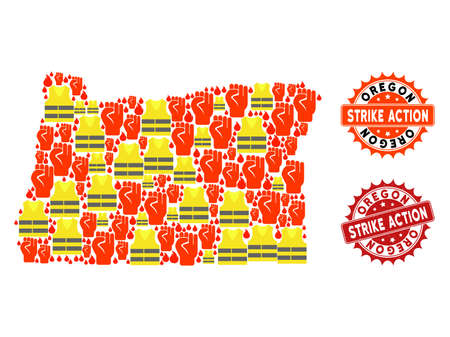 Strike action composition of revolting map of Oregon State, grunge and clean stamps. Map of Oregon State collage designed for Gilet Jaunes protest illustrations.