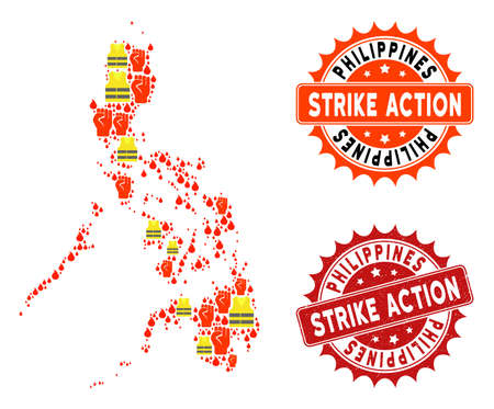 Strike action collage of revolting map of Philippines, grunge and clean seals. Map of Philippines collage designed for Gilet Jaunes protest illustrations.
