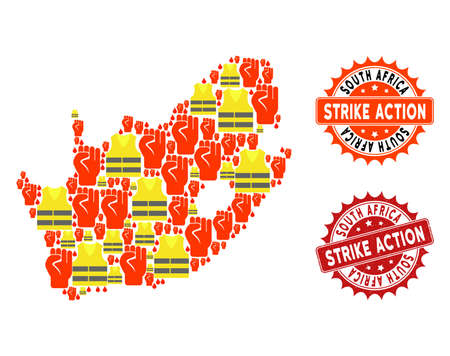 Strike action collage of revolting map of South African Republic, grunge and clean seal stamps. Map of South African Republic collage formed for Gilet Jaunes protest illustrations.