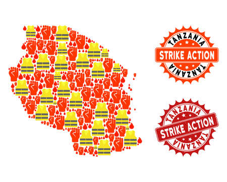Strike action collage of revolting map of Tanzania, grunge and clean seal stamps. Map of Tanzania collage created for Gilet Jaunes protest illustrations.