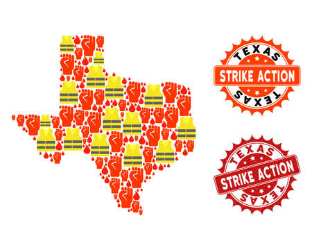 Strike action collage of revolting map of Texas State, grunge and clean seals. Map of Texas State collage formed for Gilet Jaunes protest illustrations. Ilustração