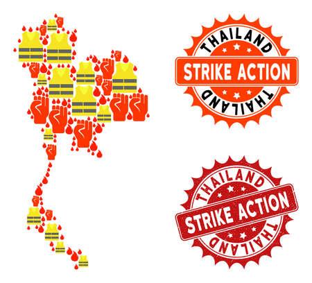 Strike action collage of revolting map of Thailand, grunge and clean seals. Map of Thailand collage designed for Gilet Jaunes protest illustrations.