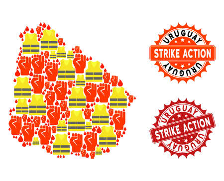 Strike action collage of revolting map of Uruguay, grunge and clean seals. Map of Uruguay collage designed for Gilet Jaunes protest illustrations.
