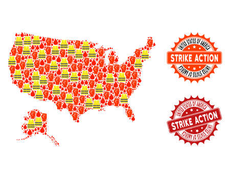 Strike action composition of revolting map of USA and Alaska, grunge and clean seals. Map of USA and Alaska collage created for Gilet Jaunes protest illustrations.