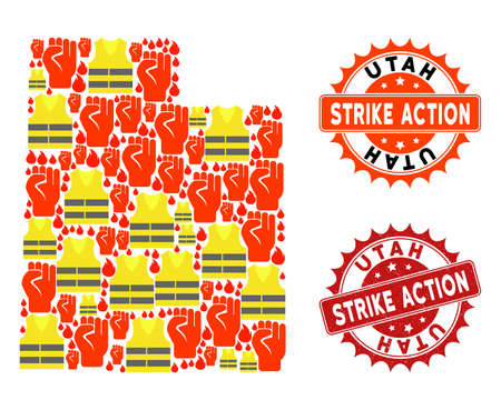 Strike action collage of revolting map of Utah State, grunge and clean seal stamps. Map of Utah State collage created for Gilet Jaunes protest illustrations.