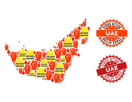 Strike action collage of revolting map of United Arab Emirates, grunge and clean stamps. Map of United Arab Emirates collage designed for Gilet Jaunes protest illustrations. Ilustração