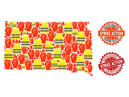 Strike action collage of revolting map of South Dakota State, grunge and clean seal stamps. Map of South Dakota State collage composed for Gilet Jaunes protest illustrations.