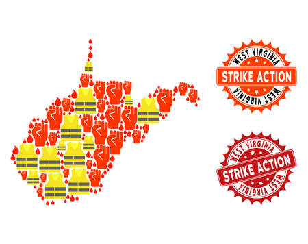 Strike action collage of revolting map of West Virginia State, grunge and clean seals. Map of West Virginia State collage composed for Gilet Jaunes protest illustrations. Illustration
