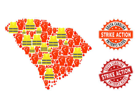 Strike action collage of revolting map of South Carolina State, grunge and clean stamps. Map of South Carolina State collage formed for Gilet Jaunes protest illustrations.