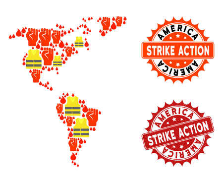 Strike action composition of revolting map of South and North America, grunge and clean seal stamps. Map of South and North America collage formed for Gilet Jaunes protest illustrations.