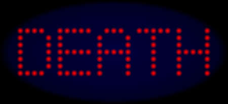 Death title in LED style with round glowing dots. Vector shiny red letters forms Death title on a dark blue background. Digital font with circle elements. Illustration