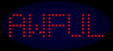 Awful message in LED style with round glowing dots. Vector shiny red letters forms Awful message on a dark blue background. Digital font with round elements.