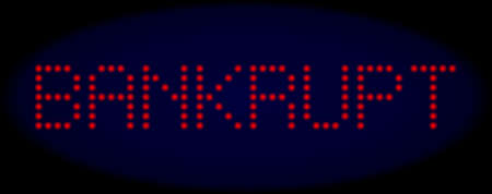 Bankrupt text in LED style with round glowing dots. Vector shiny red letters forms Bankrupt text on a dark blue background. Digital font with round elements. Ilustração