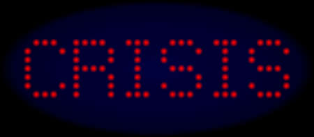 Crisis title in LED style with round glowing dots. Vector glare red symbols forms Crisis title on a dark blue background. Digital font with round elements.