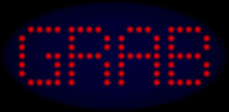 Grab text in LED style with round glowing dots. Vector glare red symbols forms Grab message on a dark blue background. Digital font with round elements.