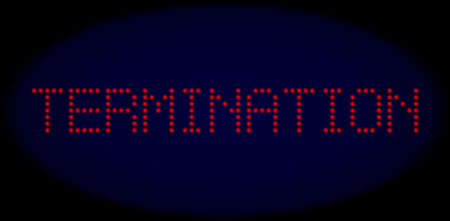 Termination text in LED style with round glowing pixels. Vector shiny red letters forms Termination text on a dark blue background. Digital font with round elements. 向量圖像