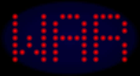 War caption in LED style with round glowing dots. Vector glare red letters forms War caption on a dark blue background. Digital font with round elements. Illustration
