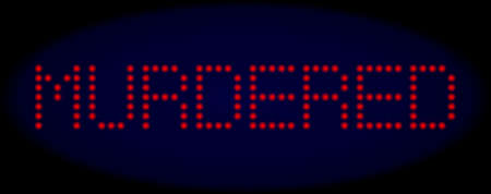 Murdered caption in LED style with round glowing dots. Vector light red symbols forms Murdered caption on a dark blue background. Digital font with round elements. Illustration