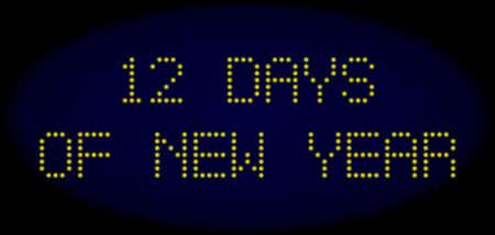 12 Days of New Year message in LED style with round glowing dots. Vector shiny yellow symbols forms 12 Days of New Year message on a dark blue background. Digital font with round elements.