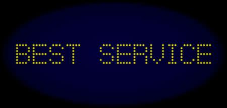 Best Service message in LED style with round glowing pixels. Vector shiny yellow symbols forms Best Service message on a dark blue background. Digital font with round elements.