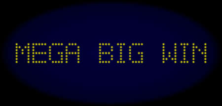 Mega Big Win title in LED style with round glowing dots. Vector shiny yellow symbols forms Mega Big Win title on a dark blue background. Digital font with round elements.