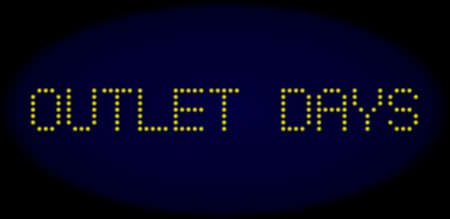 Outlet Days caption in LED style with round glowing pixels. Vector shiny yellow symbols forms Outlet Days caption on a dark blue background. Digital font with round elements.
