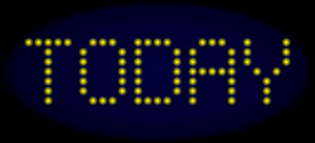Today message in LED style with round glowing pixels. Vector shiny yellow symbols forms Today message on a dark blue background. Digital font with round elements.