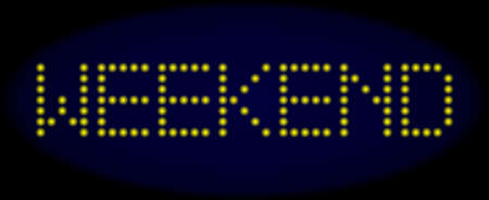 Weekend message in LED style with round glowing pixels. Vector illuminated yellow letters forms Weekend message on a dark blue background. Digital font with round elements.